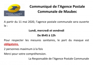 REOUVERTURE AGENCE POSTALE COMMUNALE